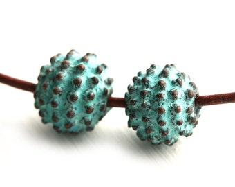 12mm Metal Round Dotty beads, 3mm hole, Verdigris patina on copper, metal ball greek beads - 2Pc - F481