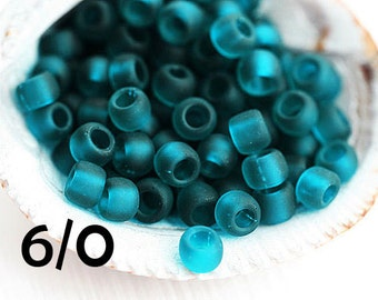TOHO Seed beads, size 6/0, Transparent Frosted Teal, N 7BDF, round kumihimo japanese glass beads - 10g - S361