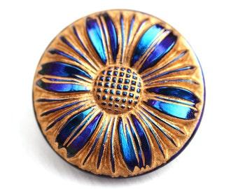 27mm Golden Flower Czech Glass Button, Dark Blue and Purple, Handmade Button bead, size 12, 1pc - 0302