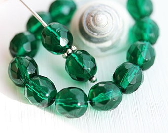 8mm Dark Teal green round beads Czech glass fire polished faceted beads - 15Pc - 2728