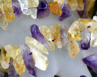 Natural Citrine + Amethyst Mid. Size Chip Beads, 15.5-Inch Strand G01199