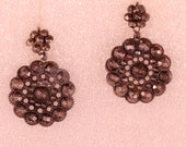 Antique Cut Steel Flower Earrings Hook As Clasp Small French Jewelry