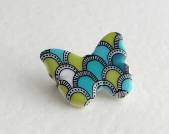 Butterfly Brooch .. ceramic brooch, art deco, small brooch, butterfly pin