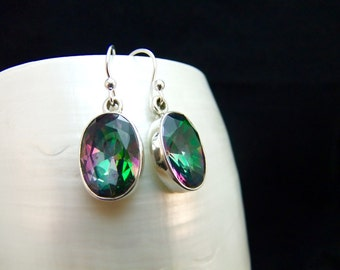 Handmade Mystic Topaz Sterling Silver Drop Earrings