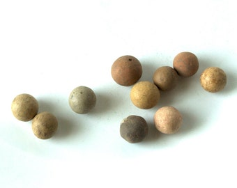 Ten Antique Clay Marbles, 1900s, Vintage Toys, kids games, group 4