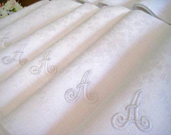 """12 Vintage Irish Linen Damask Napkins, Embroidered Monogram Letter A, Shamrocks  22"""" x 21"""""""