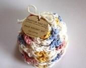 SHOP CLOSING SALE Flower Face Scrubby Set . Set of 3 . Crochet . 100 Percent Cotton . White, Pink, Blue & Yellow