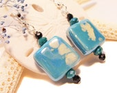 Aqua and White Ceramic Square Earrings with Crystals,  Country Chic, Casual Chic