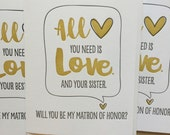 Will you be my Maid of Honor? Will you be my Matron of Honor? Bride Tribe. Sister Maid of Honor, Matron of Honor Card. DeLuce Design