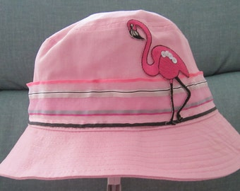 Pink toddler bucket hat with flamingo