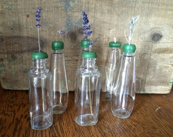 Vintage Lot of 6 Flower Vases/ Bud Bottles With Green Rubber Stoppers
