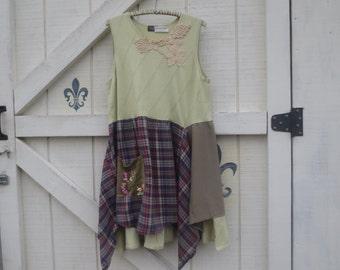 Sage tunic dress, retro hippie, Sleeveless, Lagan Style, L sage green, boho gypsy dress,
