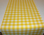11 x 72 Inch Yellow and White Gingham Table Runner