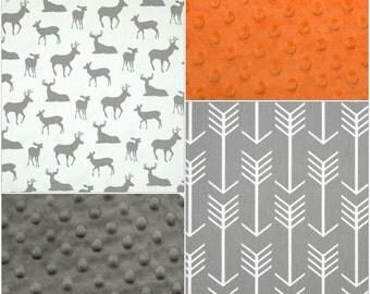 Woodland Patchwork Blanket- White Gray Deer, Gray Arrows, Gray Minky, and Orange Minky Patchwork Blanket