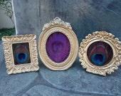 Mini BOHO Peacock Feather Photo Frames, Set of 3 - Ornate Vintage Gold