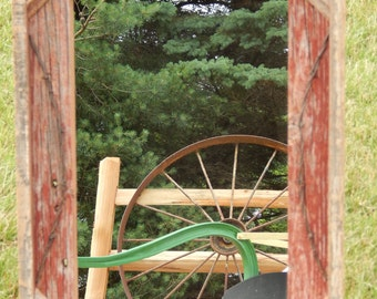 Barnwood Framed  Mirror with barbwire