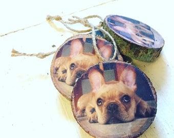 Wood Cut Pet Photo Ornament, Wood Slice Ornament