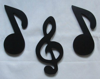 """Painted Wood Shapes - 8"""" Size - Music - Wooden - Wall Hanging Decor - Kids Craft - DIY Project - Notes Treble Clef - Musical Symbols"""
