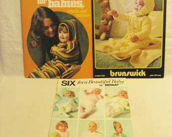3 Knit and Crochet for Baby Pattern Books Vintage 1970s 33 Patterns