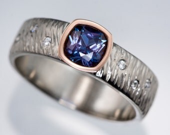 Cushion Chatham Alexandrite, 14k Rose Gold Bezel Engagement Ring, Diamond Accented Textured Palladium, Platinum, White or Rose Gold Band