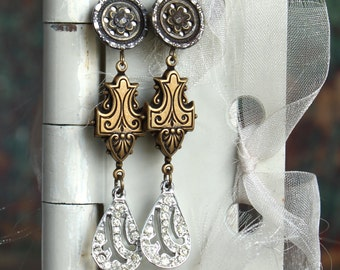 Antique Button Earring and Rhinestone assemblage