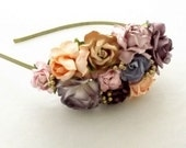 Vintage and Gold Floral Aliceband Vintage Wedding Party Bridal Accessory Bridesmaid statement