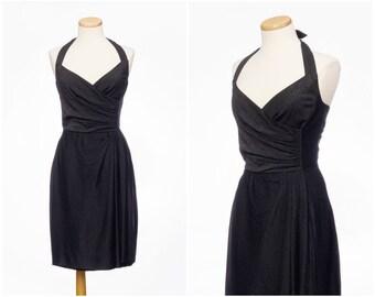 Sparkling 50s dress // Vintage Black Metallic Halter Sarong Dress Cocktail Small Medium
