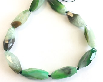 green multi elongate Natural agate Gemstone Beads# 2025