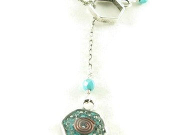 Orgone Energy Honeycomb Lariat Necklace in Antique Silver Finish with Turquoise Gemstones -Hexagon- Orgone Energy Necklace - Dainty Necklace