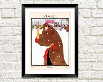 VOGUE MAGAZINE POSTER: Vintage Winter Fashion Magazine Cover, Brown Art Print Wall Hanging