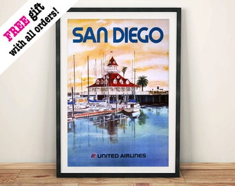 SAN DIEGO POSTER: Vintage American West Coast Travel Advert, Art Print Wall Hanging