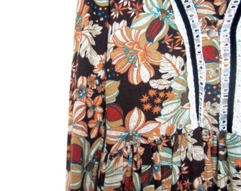 Vintage Midi dress in a floral print 1970s in size S/M