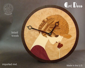 Wood Wall Clock with Art Deco Female inlay.   WC-2  Free Shipping.