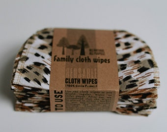 Family Cloth Wipes  Cloth Wipes Diaper Bag Wipes - Flannel Wipes - Set of 20 - (Animal Print)
