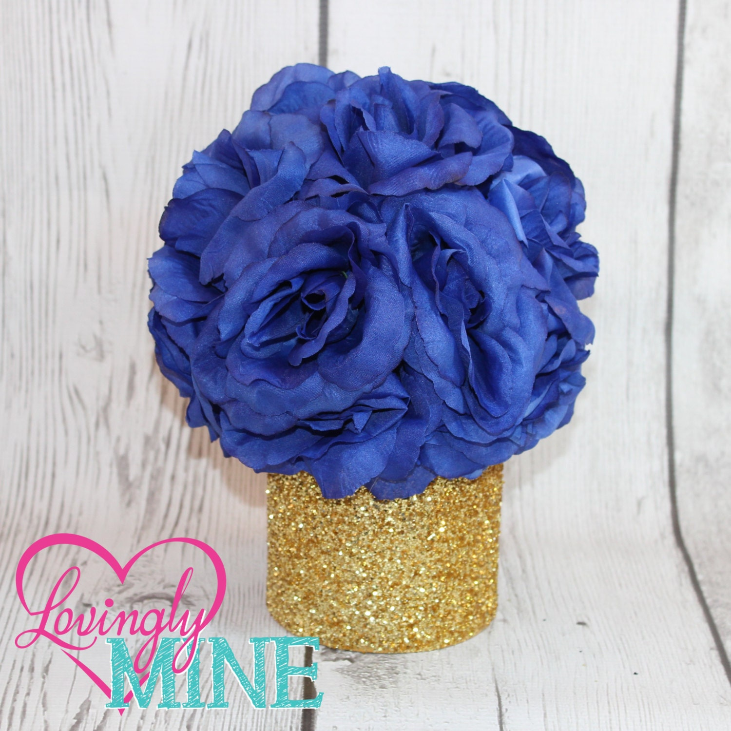 Small glitter gold royal blue centerpiece faux by