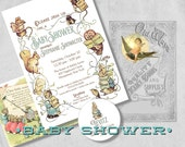 Storybook Baby Shower Invitation - Beatrix Potter Gender Neutral Vintage Baby Shower Invites with Bring A Book Insert & Address Labels