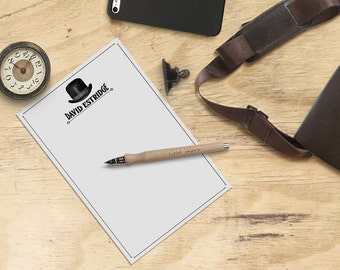 Steampunk Personalized Notepad, Mens Vintage Bowler Hat - Custom Stationery - Note paper - Gift for Him, Groomsmen Gift, Stocking Stuffer