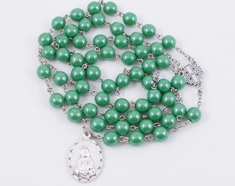 Seven Sorrows Rosary, Metallic Green Czech Glass Beads, 8mm - Our Lady of Kibeho Devotion - Sorrowful Heart of Mary - Christmas Gift