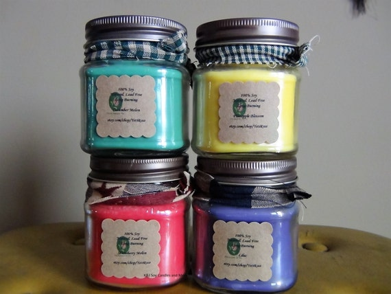 Lot of 4-8oz Mason Jar 100% Soy Candle. Choose Your Scent. Natural. Long Burning. Lead-Free and Eco Friendly