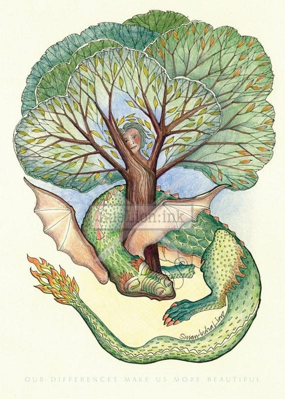 Soulmates - A7 Card - Dragon & Tree Spirit