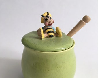 Vintage Green Speckled Ceramic Honey Pot with Adorable Anthropomorphic Cartoon Bee and Wooden Dipper