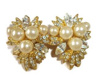Vintage Earrings Gold and Pearl RHINESTONE Vintage Brilliant Elegance Earrings Vintage Jewelry By Vintagelady7