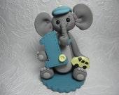 Personalized Baby Boy's First Birthday Elephant Cake Topper,First Birthday Keepsake,First BirthdayGift,Elephant Figurine