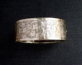 Antique Victorian Wide Silver Bracelet with Ivy.