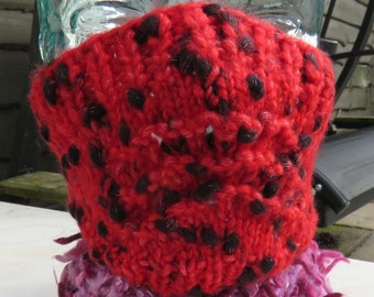Hand knitted ski mask in scarlet red and black