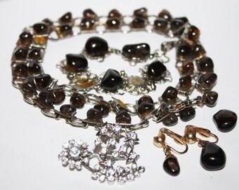 Vintage Jewelry Assortment, Necklace, Bracelet, Clip On Earrings, Rhinestone Brooch,  Glass Stones, Smokey Glass