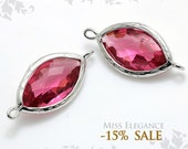2pcs Red Ruby Marquise Textured Bezeled Faceted Glass, Connectors, Links, Rhodium Plated, Charms, Pendants Jewelry // G13N-022-BR
