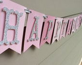 Pink Ombre Happy 1st Birthday Banner Pink and Silver