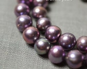 15.7 inches Round Potato pearl 8.5-9.5mm Large Hole pearl, Freshwater Pearl loose Necklace pearl Purple Loose bead full Strand PL2295