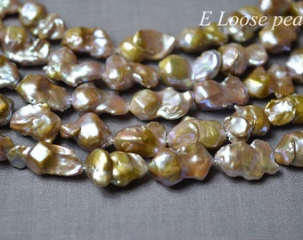 Nucleated Pearl,Large hole Freshwater Pearl,pearl necklace,flameball Pearl,Purple,15-16mm Loose pearls,Shaped pearls Full strand PL4277